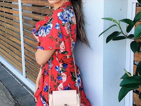 VIBRANT BLOSSOMS: Floral Tea Dress-Summer Outfit Inspiration
