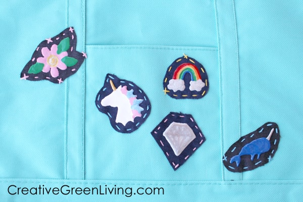 Paint denim patches with dimensional paint to create fun flair for a backpack.