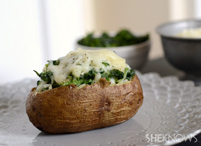 Plan no 3 Dinner - baked potato with steamed spinach