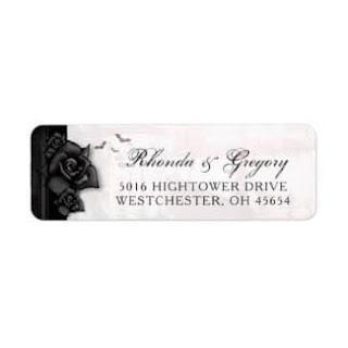 Gothic Romance Black Roses Small Address Label