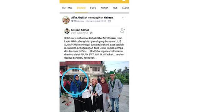 Mahasiswi Meninggal Dunia Karena Kecelakaan Usai Galang Dana Buat Korban Gempa