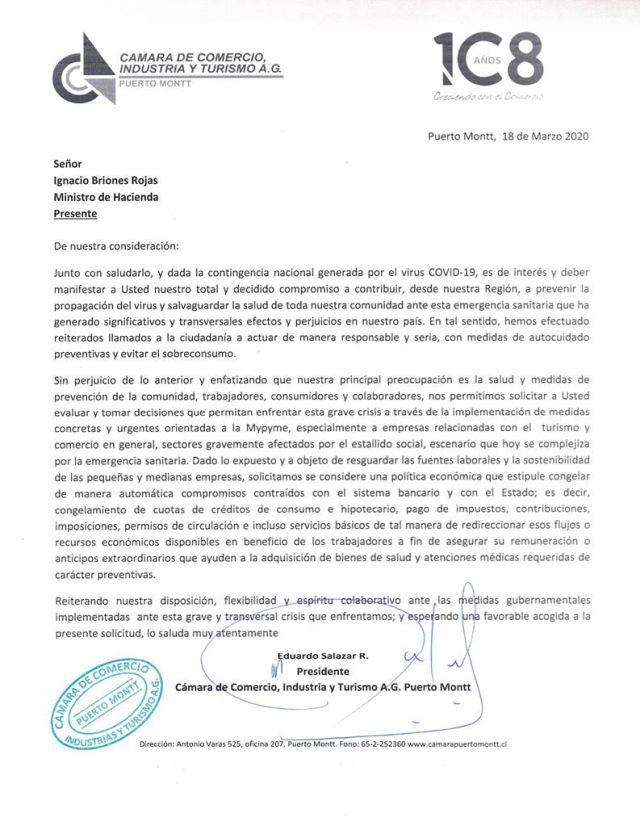 Puerto Montt: Cámara de Comercio solicita medidas a Hacienda