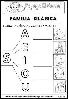 Família silábica alfabetização letra S