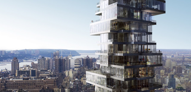 Rendering of upper floors of 56 Leonard Street by Herzog & De Meuron and the New York City in the background