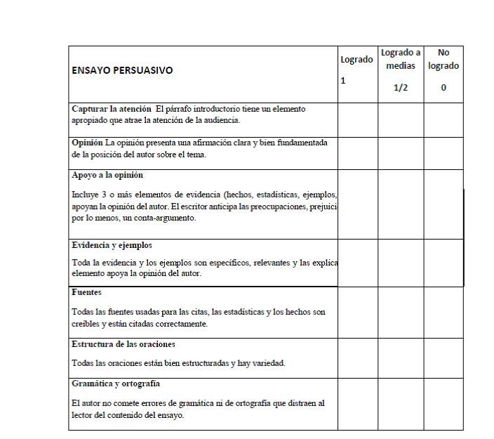 Español 3 De Laura Holland Rúbrica Para Ensayo Argumentativo