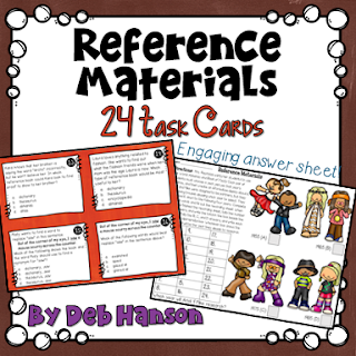 Reference Materials Task Cards! These 24 task cards cover the dictionary (along with guide words), thesaurus, encyclopedia, atlas, and almanac.
