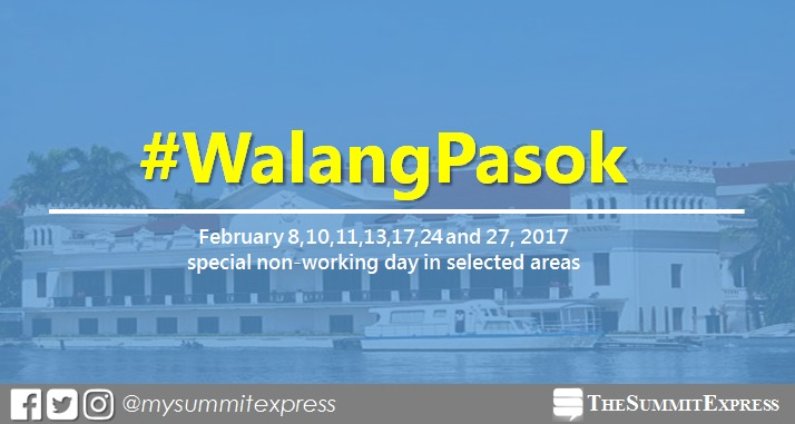 Palace declares February 2017 special holiday in some areas