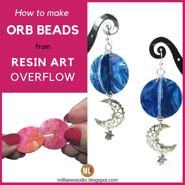 Inspiration sheet showing how to interlock marbled resin disks and a pair of finished orb earrings
