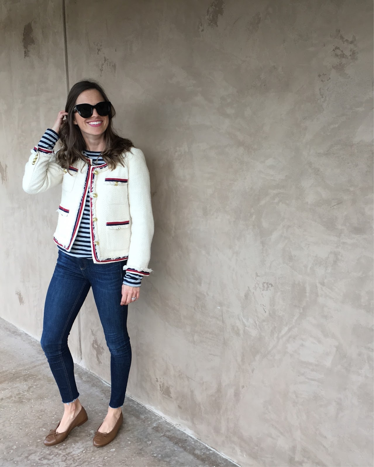 tweed jacket and jeans outfit