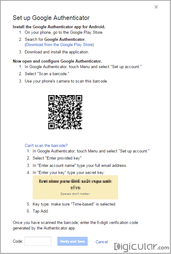 QR code and Secret key 2-step verification