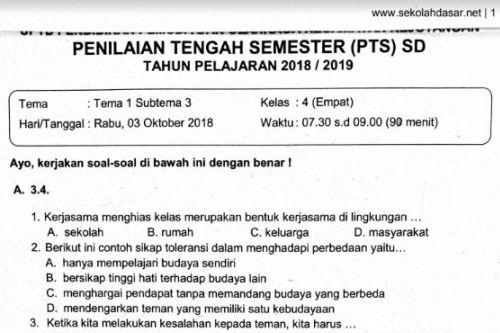 Soal Ulangan PTS Kelas 4 Tema 1 Subtema 3