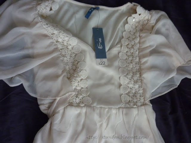evie cream dress with crochet and lace detail
