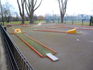 Crazy Golf course in The Grove Park in Carshalton