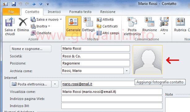 Personalizzazione info contatto Outlook 2010