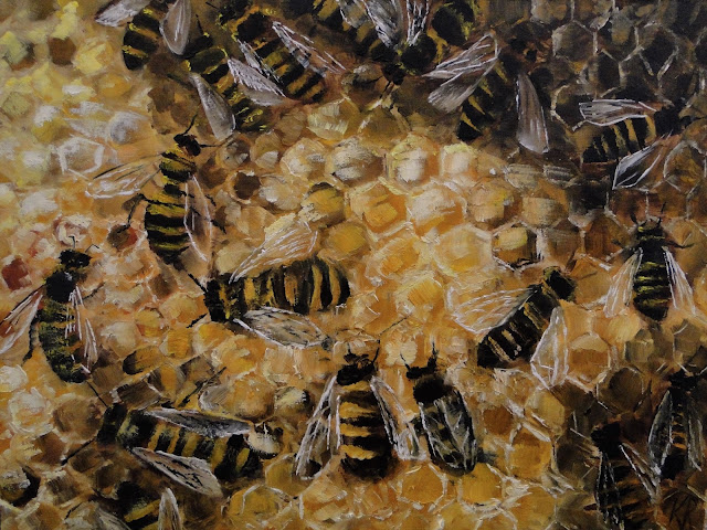 oil painting of bees capping honey