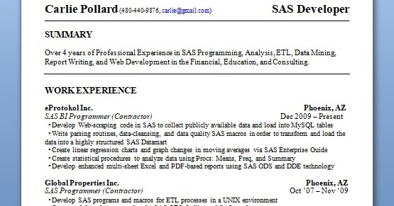 sas developer sample resume format in word free download