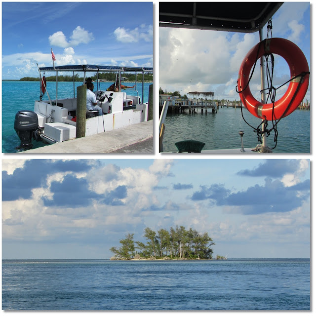 Top Left: A docked water taxi. Left: View from water taxi through life preserver. Bottom: and Island in the sea.