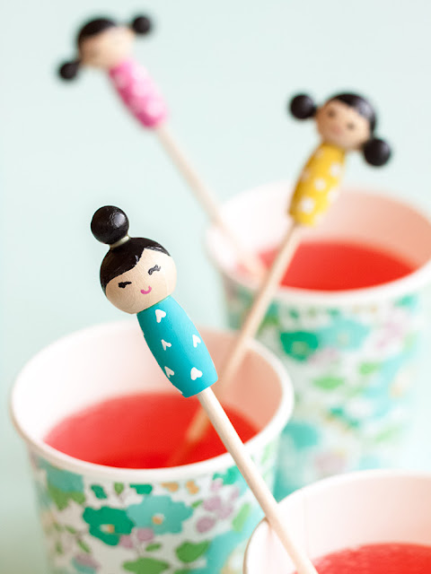 DIY Kokeshi Doll Stir Sticks from Handmade Charlotte