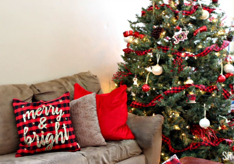 Buffalo Plaid Christmas Decorations in a Living Room