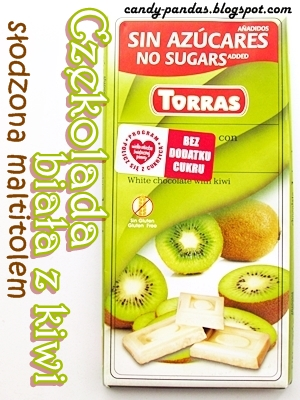 Czekolada biała z kiwi bez dodatku cukru - Torras