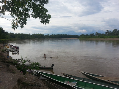 The, um, bustling port of Puerto Rosario on the Putumayo River, Putumayo, Colombia ...