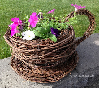 DIY grapevine teacup flower planter