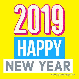 exclusive yellow colour BG pink text 2019 happy new year text greetings live