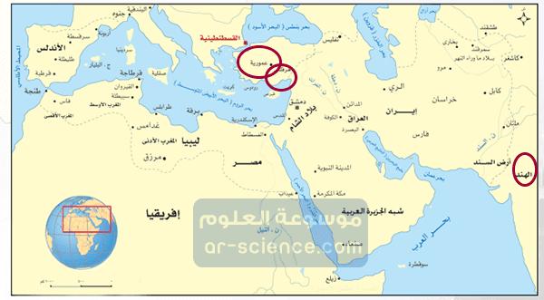احدد على الخارطة المناطق التي فتحت في عهد الدولة العباسية بوضع دائرة حولها