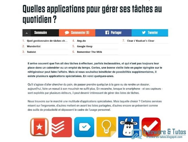 Le site du jour : Comparatif d'applications de gestion de tâches