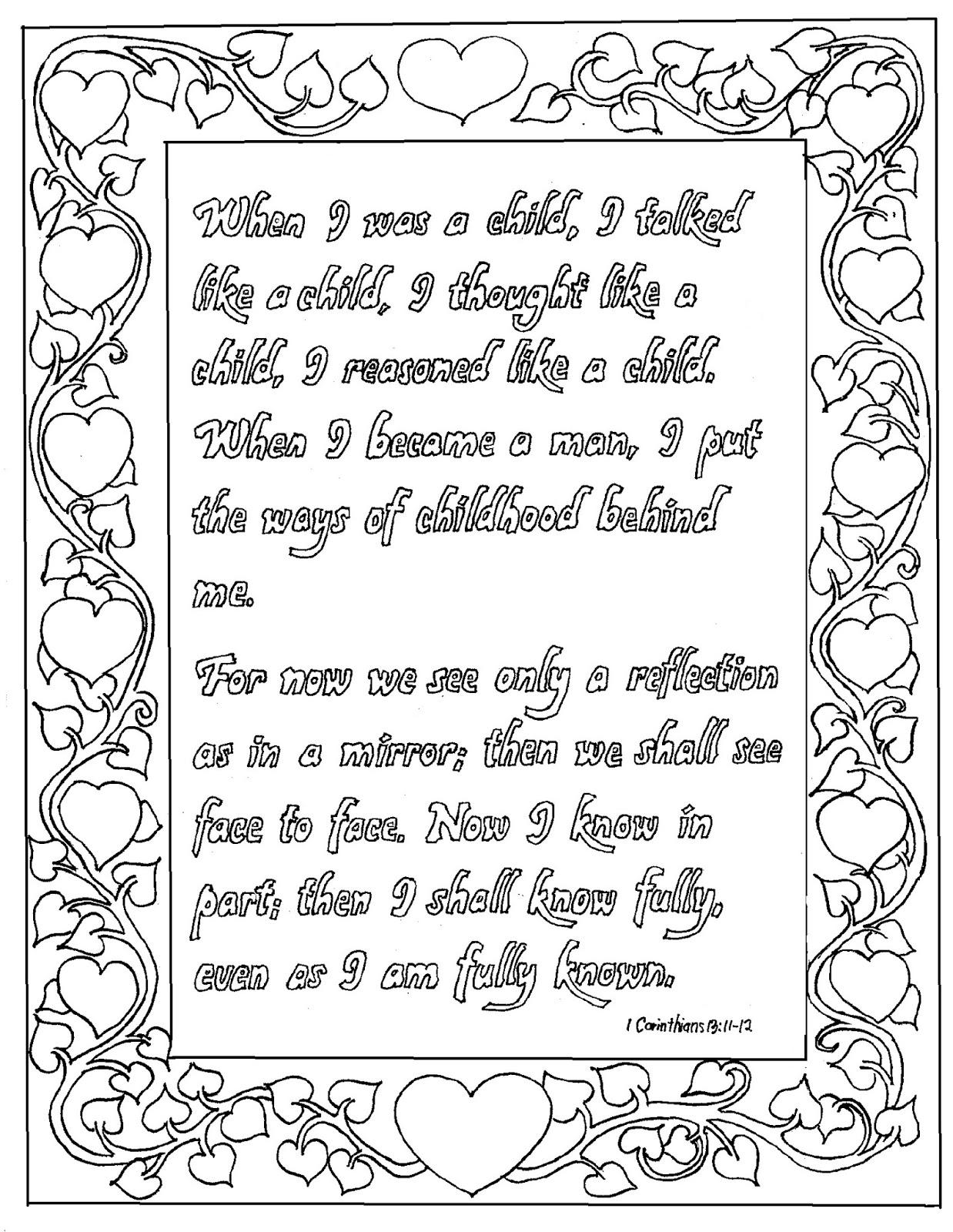 Printable 1 Corinthians 1311 12 Coloring Page
