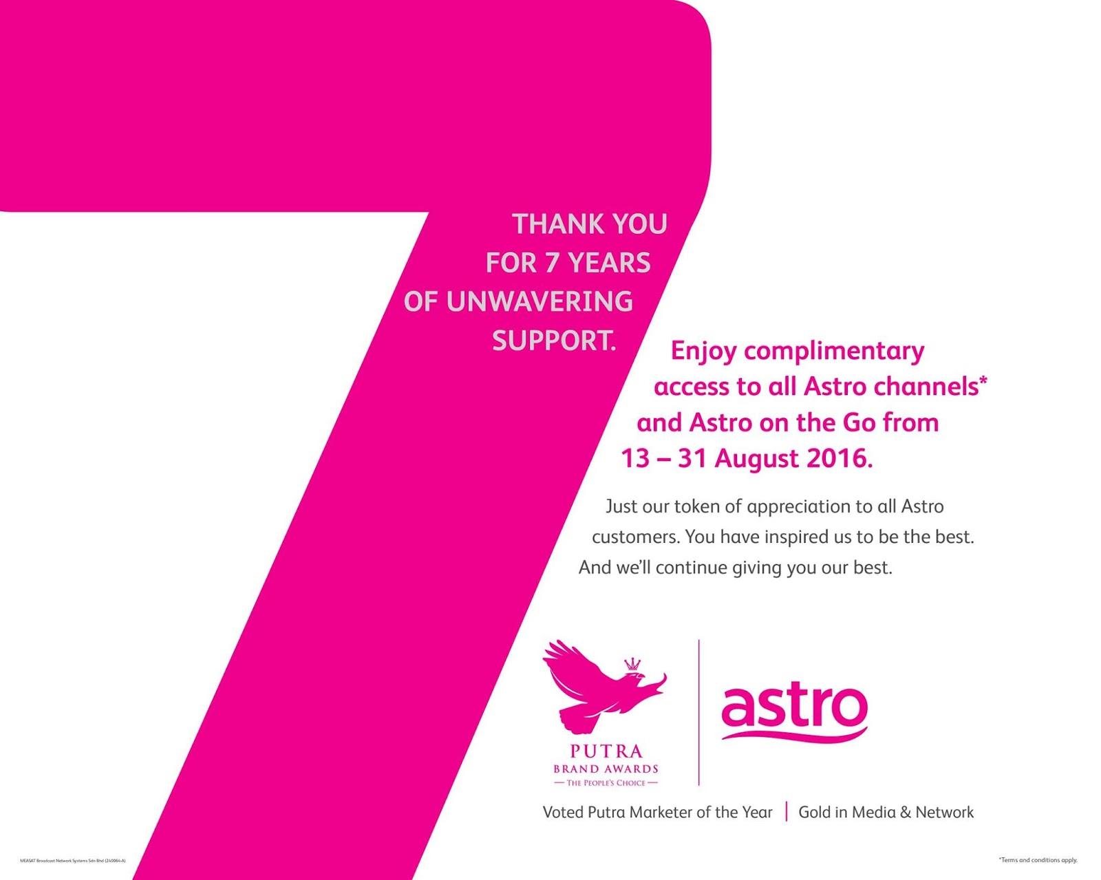 baru betul semua channel astro free sampai 31 Ogos 2016