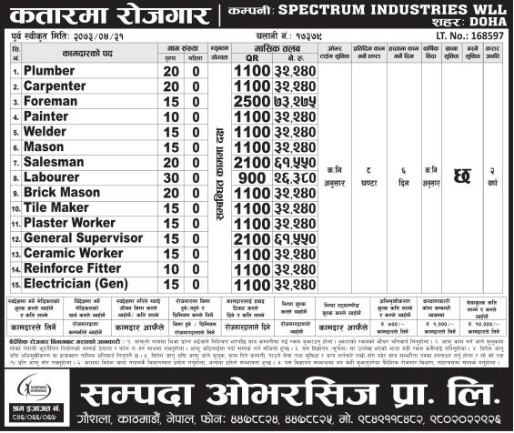 Jobs For Nepali In QATAR, Salary -Rs.73,275/