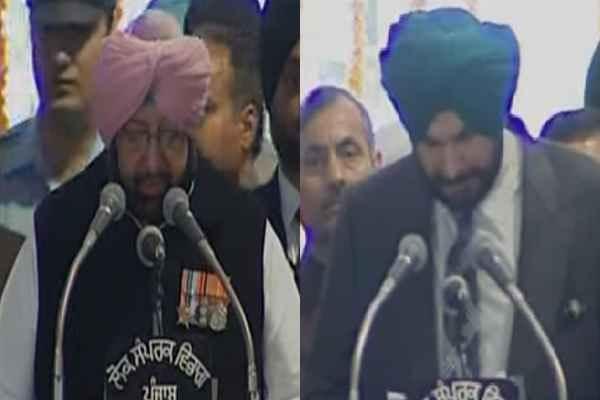 पंजाब: मुख्यमंत्री अमरिंदर ने अंग्रेजी में जबकि सिद्धू सहित सभी मंत्रियों ने पंजाबी में ली शपथ