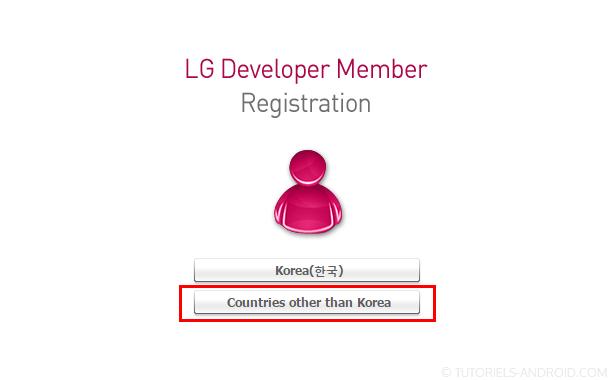 Créer compte LG developper