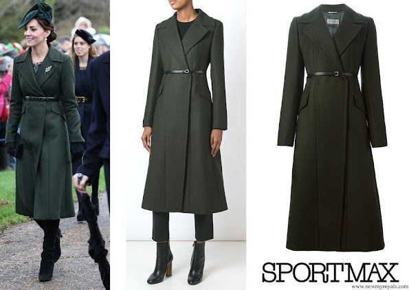 Kate Middleton wore Sportsmax Long Belted Coat from Autumn/Winter 2015 Collection