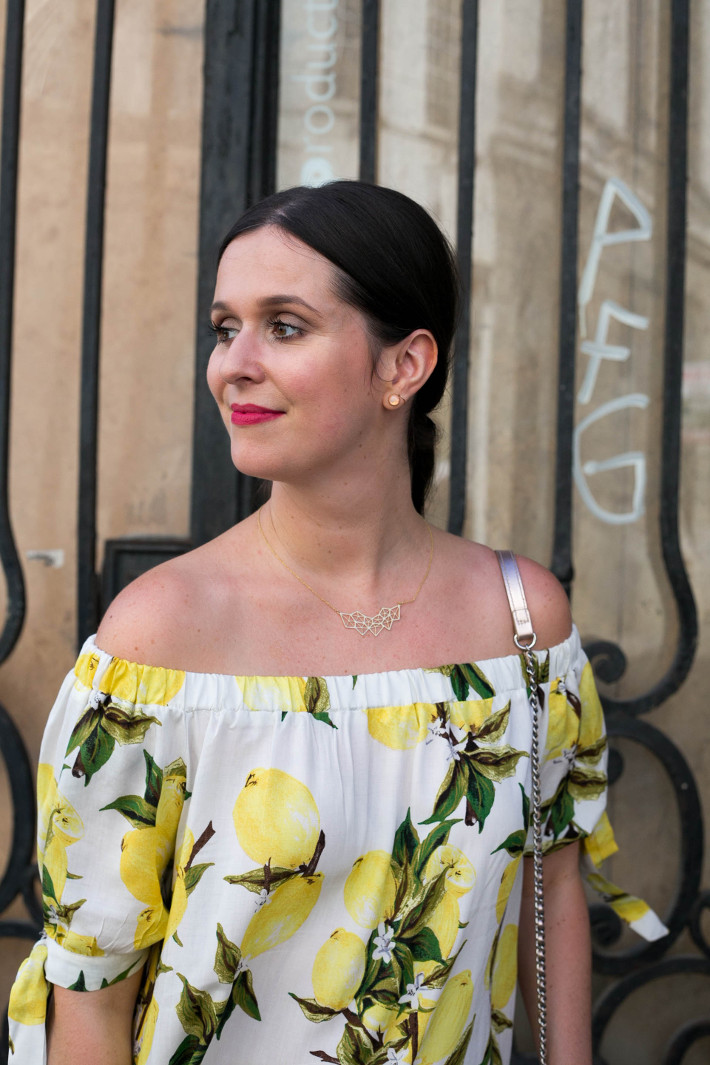 Outfit: lemon print off shoulder dress