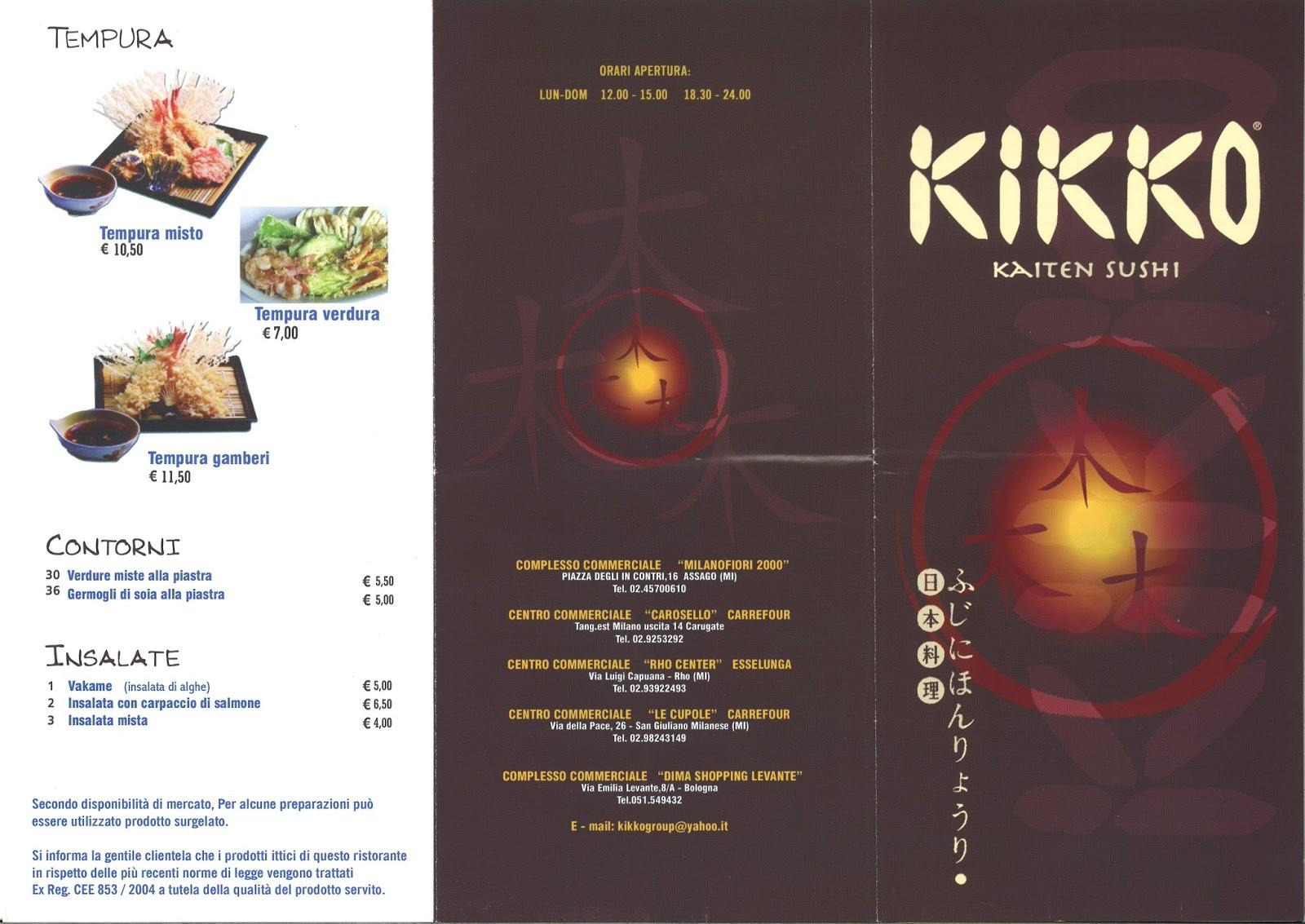 Menu E Prezzi Menu Del Ristorante Giapponese Kikko Sushi A