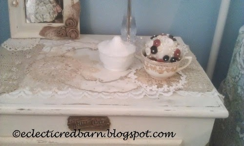 Eclectic Red Barn: Button Ball Tea Cup on side table