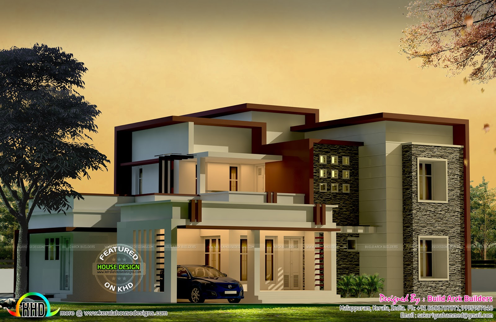 Box type modern house by build arck builders kerala home for Modern box house design