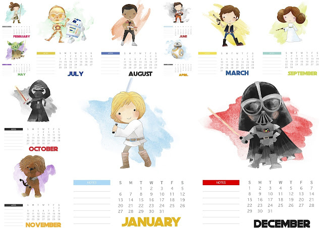 Free Printable Star Wars 2019 Calendar.