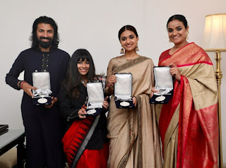 Keerthy Suresh in Saree with Mahanati Team Winning 66th National Awards 2019 2