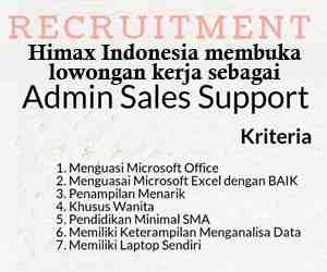 Lowongan Kerja Admin Sales Support di Himax Indonesia