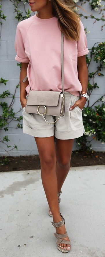 cute casual outfit: top + bag + shorts