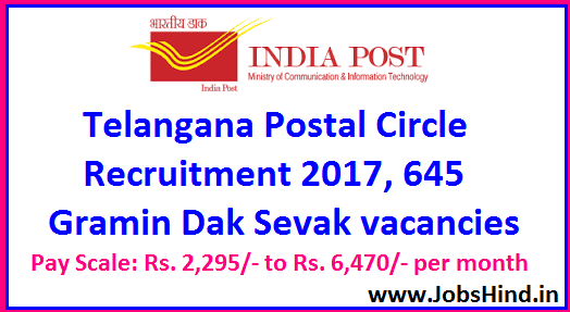 Telangana Postal Circle Recruitment 2017