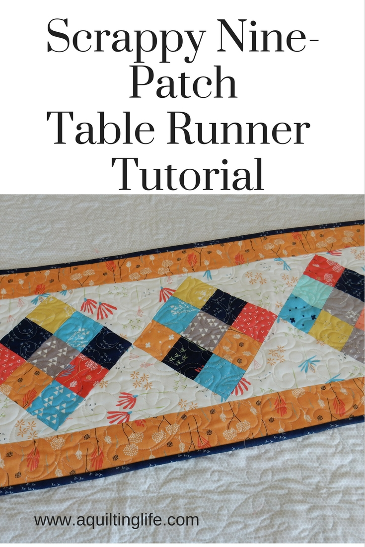 http://www.aquiltinglife.com/2013/12/scrappy-9-patch-table-runner-tutorial.html