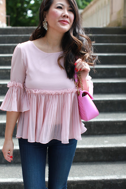 Pink bell sleeve top - petite fashion