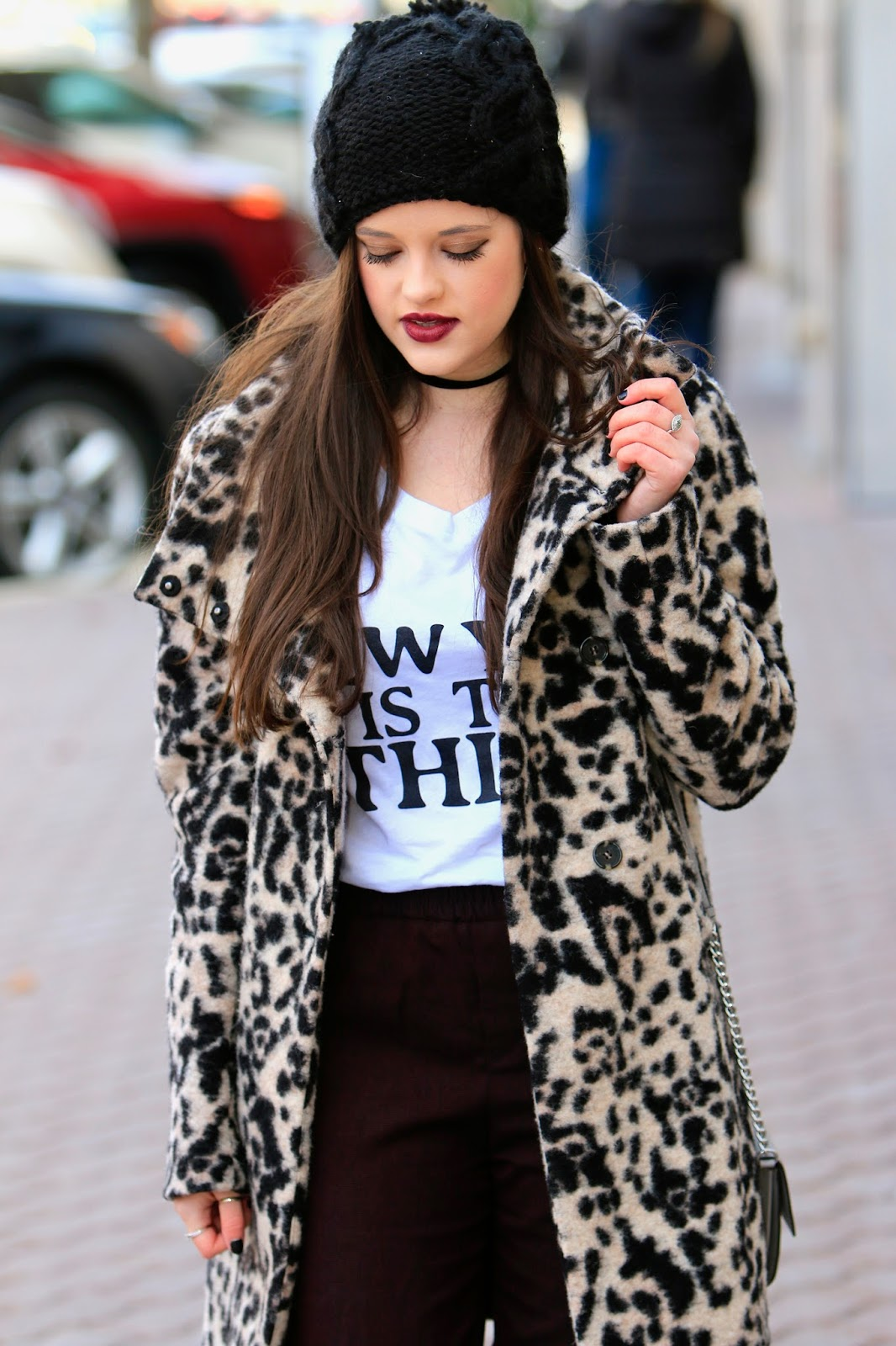 fashion blogger leopard coat pics