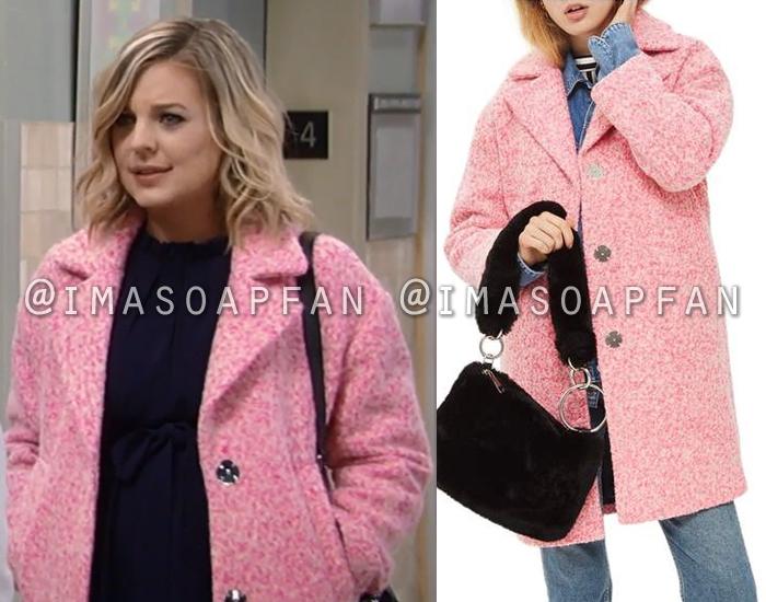Maxie Jones, Kirsten Storms, Speckled Pink Cocoon Coat, Topshop, General Hospital, GH