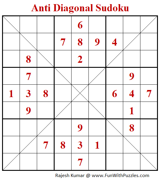 Anti-Diagonal Sudoku Puzzle (Fun With Sudoku #304)