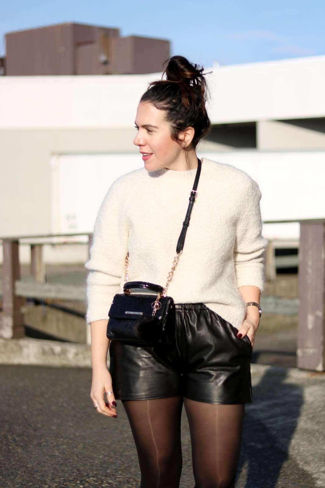 winter outfit leather shorts outfit poppy and peonies glitter mini bag vancouver fashion blogger 5